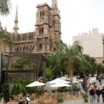 Neo-Gothic architecture and palm trees