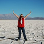 Posing in the salt desert
