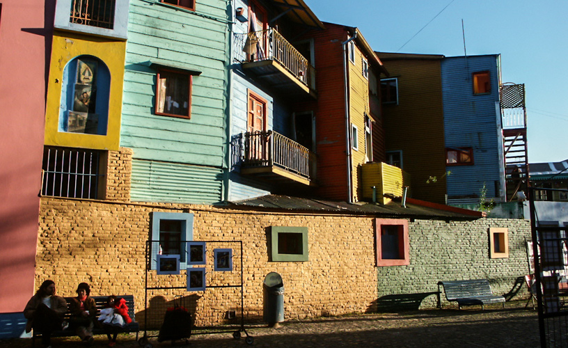 The colorful houses and the high sidewalks