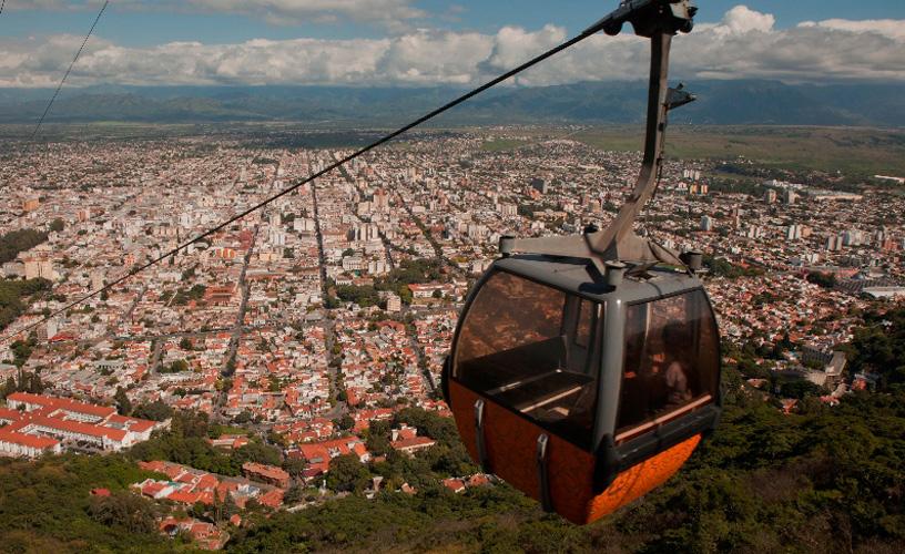 Cable Car And Mount San Bernardo In Salta